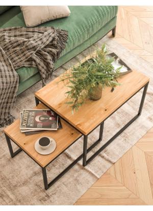 KOMPLET prostokątnych stolików kawowych dębowych Ław09 ▯60+▯70 | ▯80+▯90 | ▯100+▯120