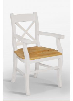 Biały fotel drewniany Nicea 32 X sosnowy