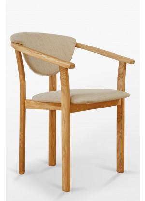 Fotel dębowy z tapicerką