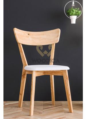 Krzesło dębowe 01 Ekoskóra czarna/biała