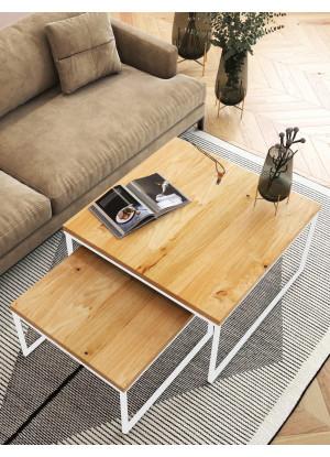 KOMPLET kwadratowych stolików kawowych dębowych Ław06 ❏50+❏60 | ❏70+❏80 | ❏90+❏100