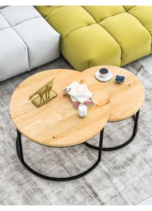 KOMPLET stolików kawowych dębowych Ław03 Ø58+Ø75