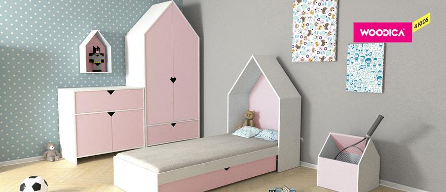 Drewniane meble dziecięce Home różowy