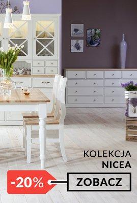 Białe meble drewniane Nicea jadalnia promocja