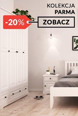 Białe meble drewniane Parma sypialnia promocja