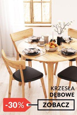 Stół dębowy okrągły rozkładany i krzesła dębowe promocja