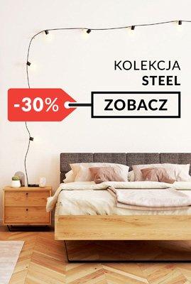 Meble dębowe na metalowych nogach Steel sypialnia promocja
